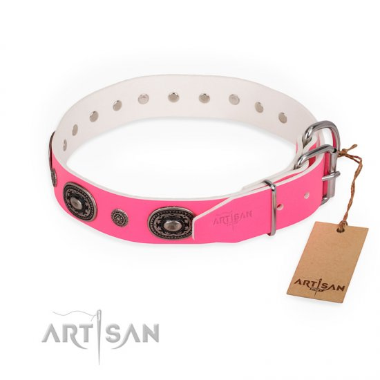 """Flavor of Strawberry"" FDT Artisan Flashy Pink Leather Bullmastiff Collar"