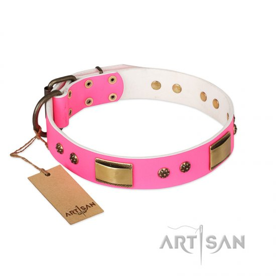 """Pink Daydream"" FDT Artisan Pink Leather Bullmastiff Collar with Old Bronze Look Plates and Studs"