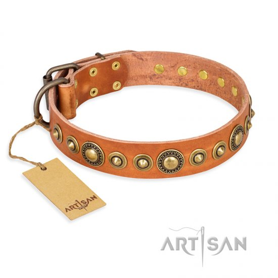 """Feast of Luxury"" FDT Artisan Tan Leather Bullmastiff Collar with Old Bronze Look Circles"