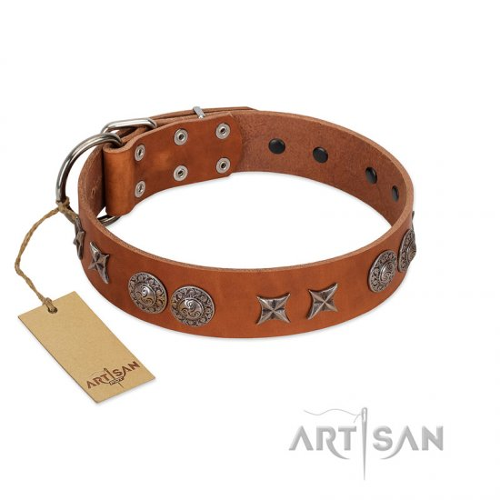 """Splendid Armor"" Premium Quality FDT Artisan Tan Designer Bullmastiff Collar with Shields and Stars"