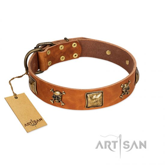 """Knights Templar"" FDT Artisan Tan Leather Bullmastiff Collar with Skulls and Crossbones Combined with Squares"