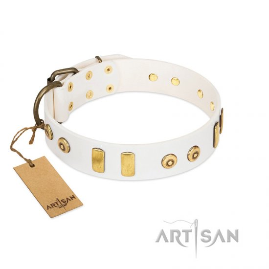 """Golden Union"" Elegant FDT Artisan White Leather Bullmastiff Collar with Old Bronze-like Dotted Studs and Tiles"