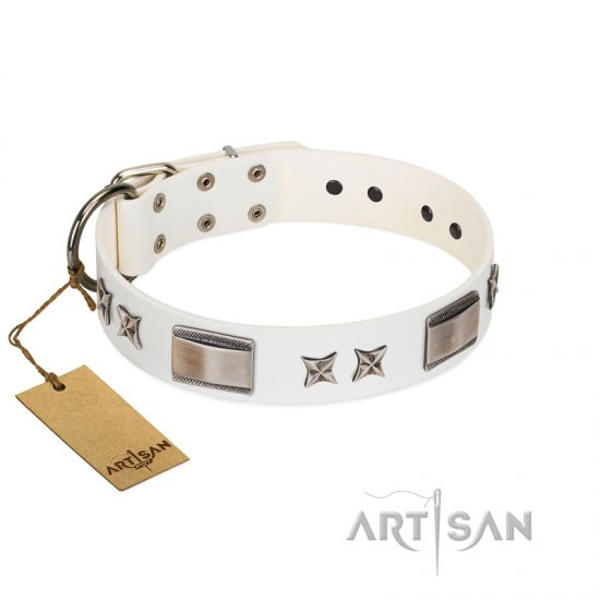 """Bling-Bling"" FDT Artisan White Leather Bullmastiff Collar with Sparkling Stars and Plates - Click Image to Close"