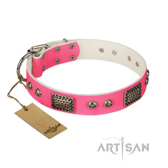 """Fashion Skulls"" FDT Artisan Pink Leather Bullmastiff Collar with Old Silver Look Plates and Skulls"