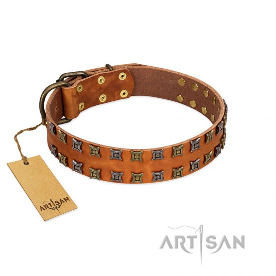 """Terra-cotta"" FDT Artisan Tan Leather Bullmastiff Collar with Two Rows of Studs"