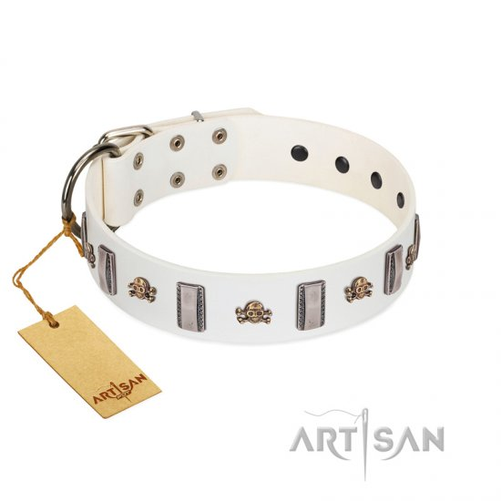 """Mysterious Voyage"" FDT Artisan White Leather Bullmastiff Collar with Engraved Plates and Skulls"