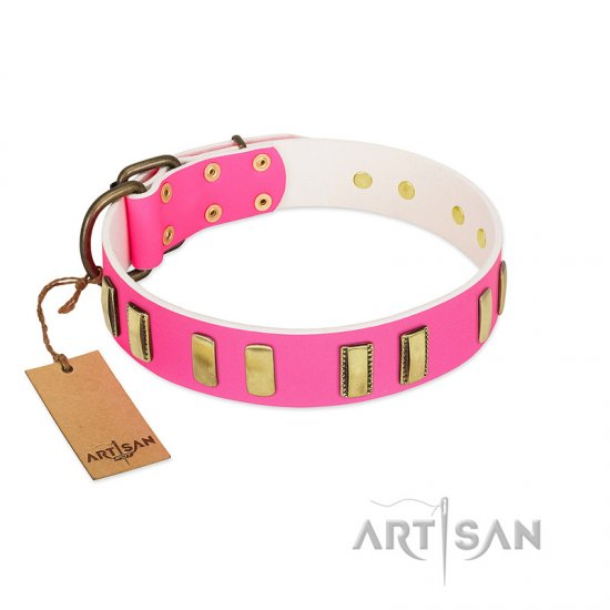 """Rubicund Frill"" FDT Artisan Pink Leather Bullmastiff Collar with Engraved and Smooth Plates"