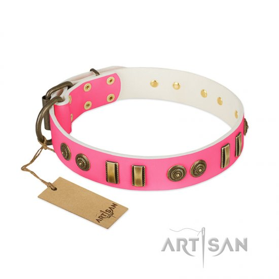 """Pink Amulet"" FDT Artisan Leather Bullmastiff Collar with Old Bronze-like Plates and Circles"
