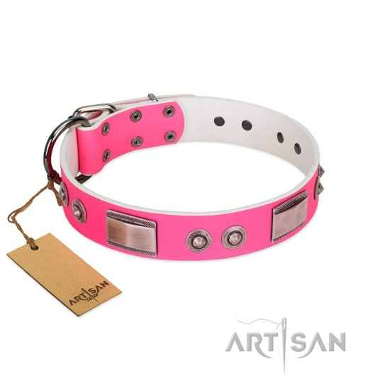"""Lady's Whim"" FDT Artisan Pink Leather Bullmastiff Collar with Plates and Spiked Studs"