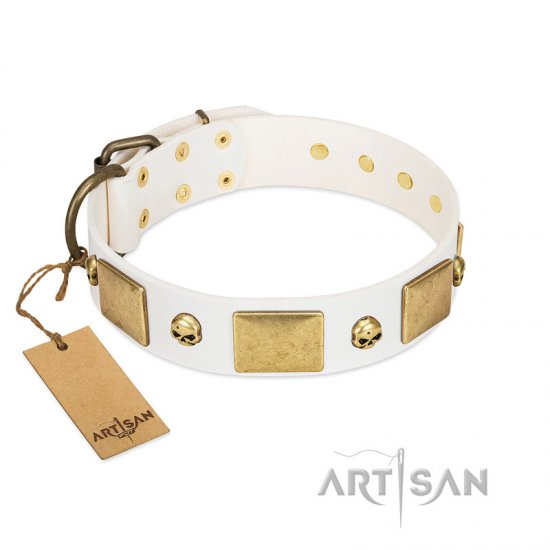 """Inspiration"" FDT Artisan White Leather Bullmastiff Collar with Antiqued Skulls and Plates"