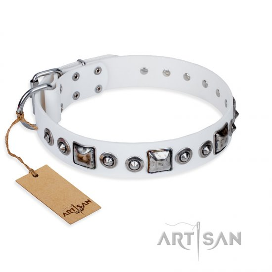 """Lustre of Fame"" FDT Artisan White Studded Leather Bullmastiff Collar"