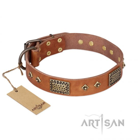 """Catchy Look"" FDT Artisan Decorated Tan Leather Bullmastiff Collar - Click Image to Close"