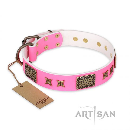 """Tender Pink"" FDT Artisan Leather Bullmastiff Collar with Old Bronze Look Stars and Plates"
