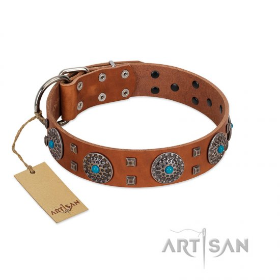"""Blue Sands"" FDT Artisan Tan Leather Bullmastiff Collar with Silver-like Studs and Round Conchos with Stones"