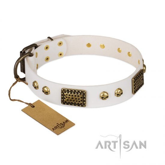 """Lost Treasures"" FDT Artisan White Leather Bullmastiff Collar with Old Bronze Look Plates and Skulls"