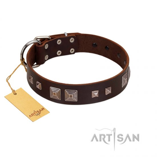 """Object of Virtu"" FDT Artisan Brown Leather Bullmastiff Collar with Old Silver-like Square Studs and Pyramids"