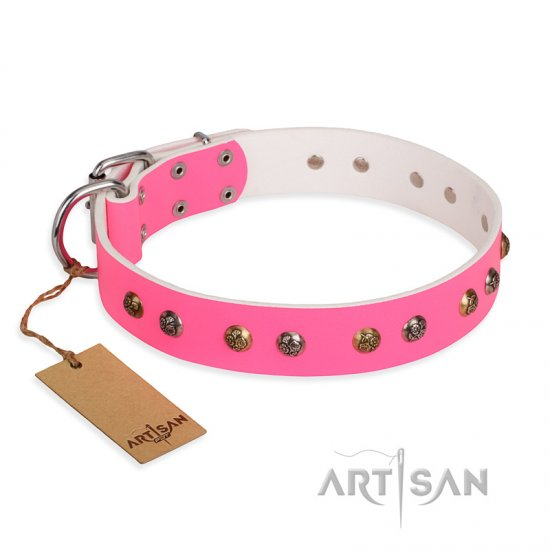"""Sheer love"" Pink Leather FDT Artisan Bullmastiff Collar with Old-look Hemisphere Studs"