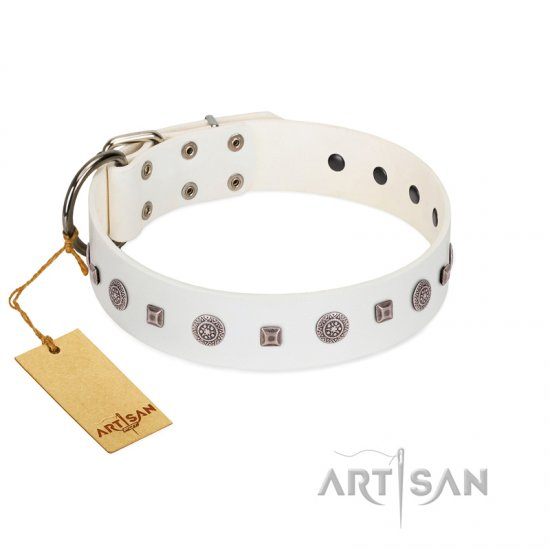 """Drops on Snow"" Handmade FDT Artisan White Leather Bullmastiff Collar Adorned with Silver-Like Studs"
