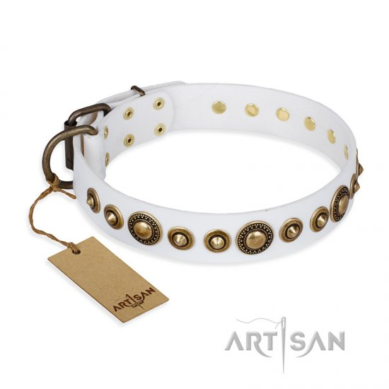 """Swirl of Fashion"" FDT Artisan Delicate White Leather Bullmastiff Collar with Stunning Bronze-Plated Round Studs"