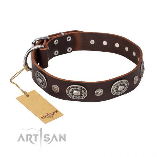 """Extra Pizzazz"" FDT Artisan Adorned Brown Leather Bullmastiff Collar"