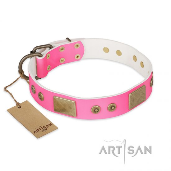 """Pink World"" FDT Artisan Pink Leather Bullmastiff Collar with Old Bronze Look Plates and Studs"