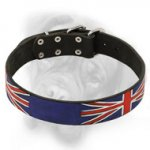 Top Quality Leather Bullmastiff Collar with UK Flag Painting