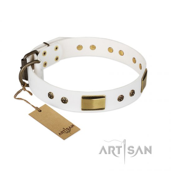 """Precious Necklace"" FDT Artisan White Leather Bullmastiff Collar with Old Bronze Look Plates and Studs"