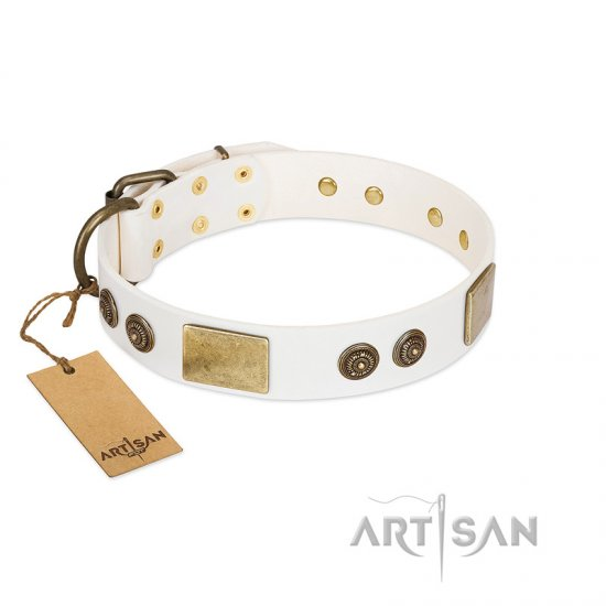 """Sweet Melody"" FDT Artisan White Leather Bullmastiff Collar with Plates and Ornamented Studs"