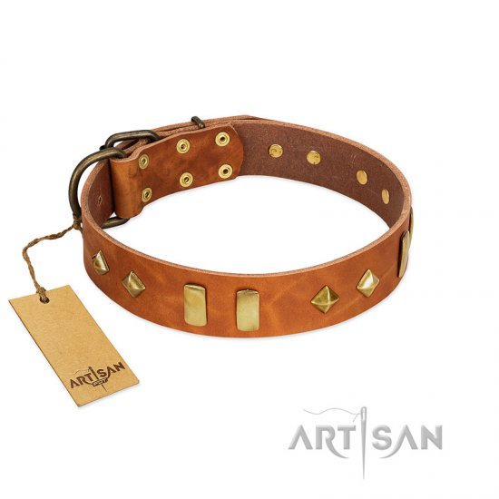 """Woofy Dawn"" FDT Artisan Tan Leather Bullmastiff Collar with Plates and Rhombs"