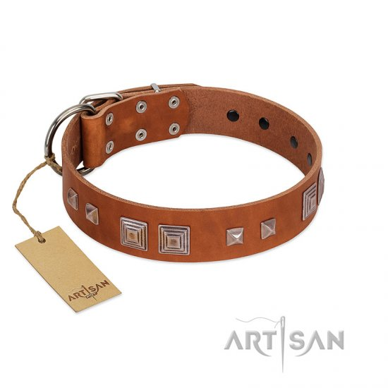 """Egyptian Gifts"" Handmade FDT Artisan Tan Leather Bullmastiff Collar with Chrome-plated Pyramids"