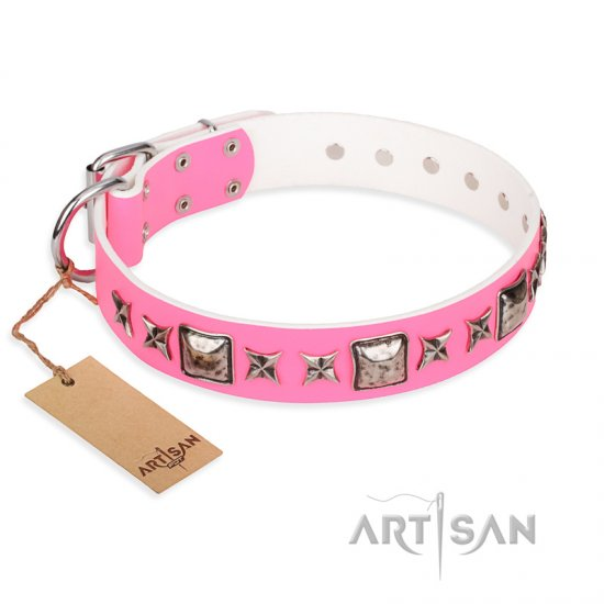 """Lady in Pink"" FDT Artisan Extravagant Leather Bullmastiff Collar with Studs"