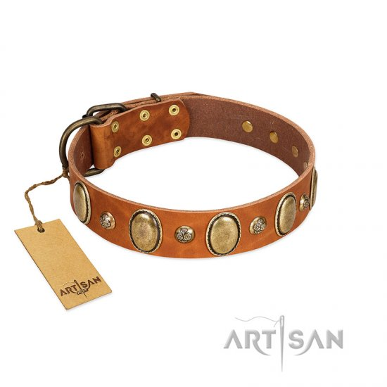 """Venus Breath"" FDT Artisan Tan Leather Bullmastiff Collar with Vintage Looking Oval and Round Studs"