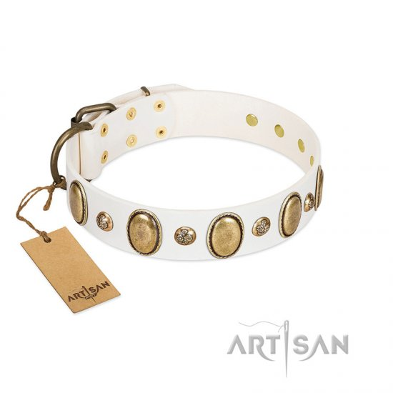 """Milky Lagoon"" FDT Artisan White Leather Bullmastiff Collar with Vintage Looking Oval and Round Adornments"