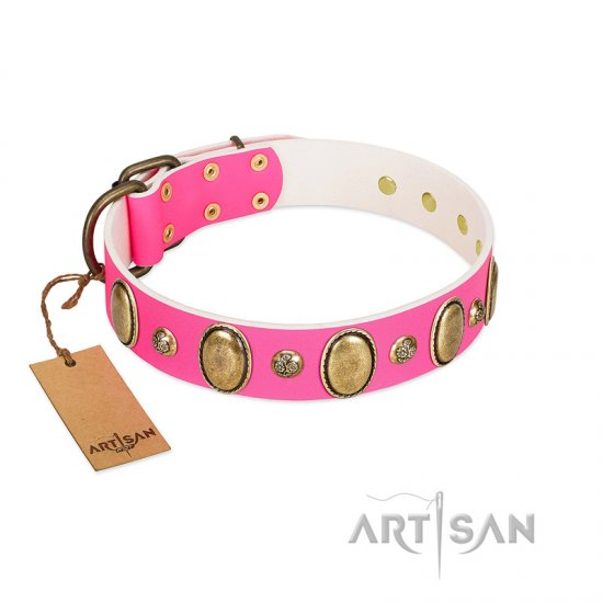 """Roseate Dawn"" FDT Artisan Pink Leather Collar with Vintage Looking Oval and Round Adornments"