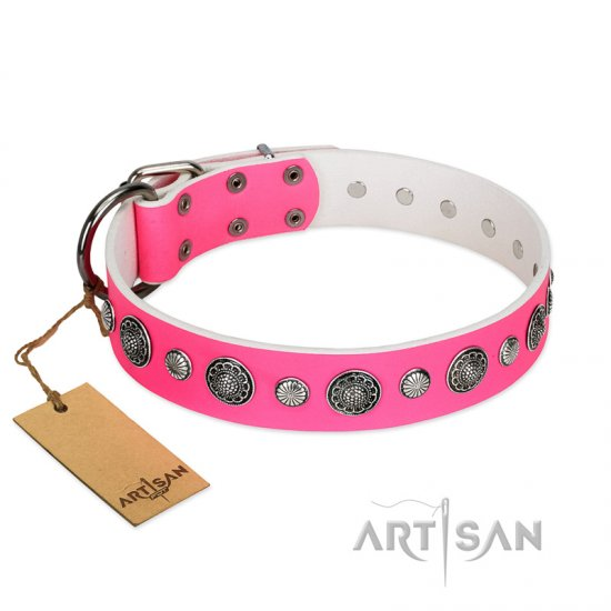 """Glamorous Shine"" FDT Artisan Stylish Leather Bullmastiff Collar with Old Silver-like Plated Decorations"