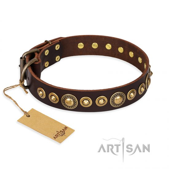 """Ancient Warrior"" FDT Artisan Fancy Leather Bullmastiff Collar with Old-Bronze Plated Decorations"