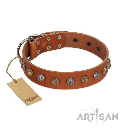 """Dogue-Vogue"" FDT Artisan Tan Leather Bullmastiff Collar with Engraved Chrome-plated Studs"