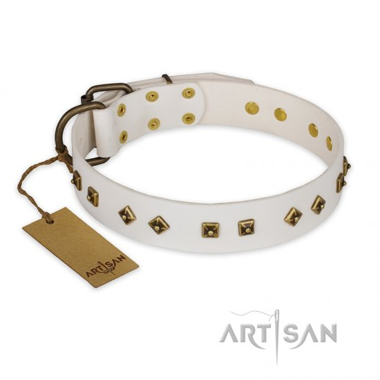 """Snow Cloud"" FDT Artisan White Leather Bullmastiff Collar with Square and Rhomb Studs"