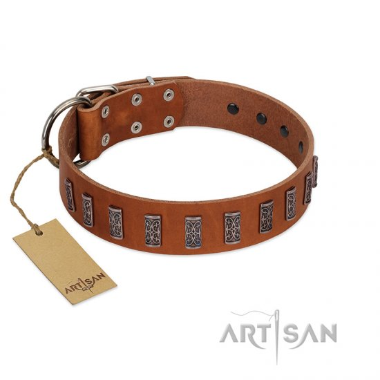 """Silver Century"" Fashionable FDT Artisan Tan Leather Bullmastiff Collar with Silver-Like Plates"