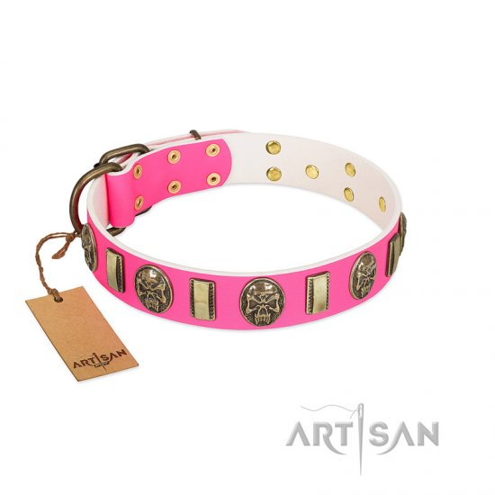 """Perilous Beauty"" Pink FDT Artisan Leather Bullmastiff Collar with Small Plates and Skulls"