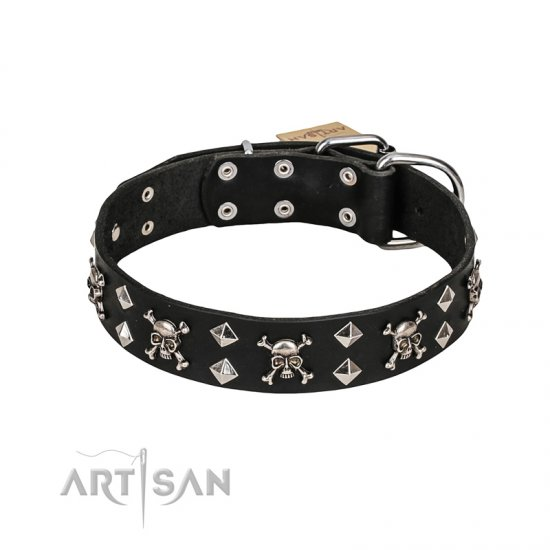 "FDT Artisan ""Rock 'n' Roll Style"" Leather Dog Collar with Skulls, Bones and Studs 1 1/2 inch (40 mm) wide"