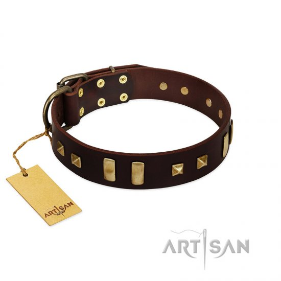 """Choco Delight"" FDT Artisan Brown Leather Bullmastiff Collar with Old Bronze-like Plates and Studs"