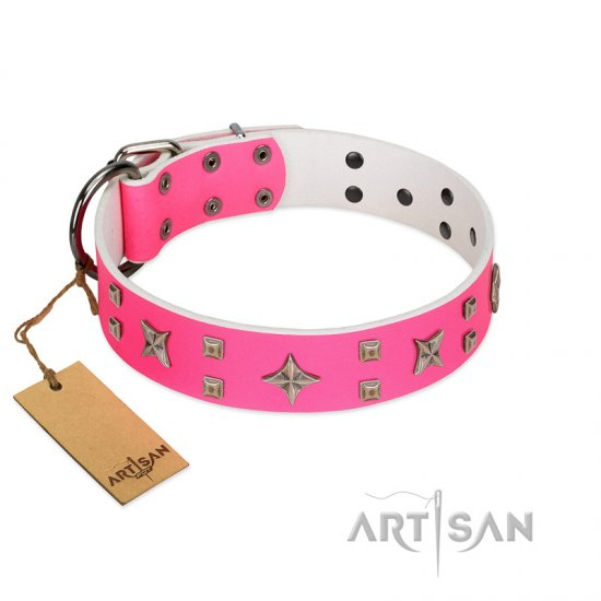 """Stars in Pink Dreams"" Modern FDT Artisan Pink Leather Bullmastiff Collar with Studs and Stars"