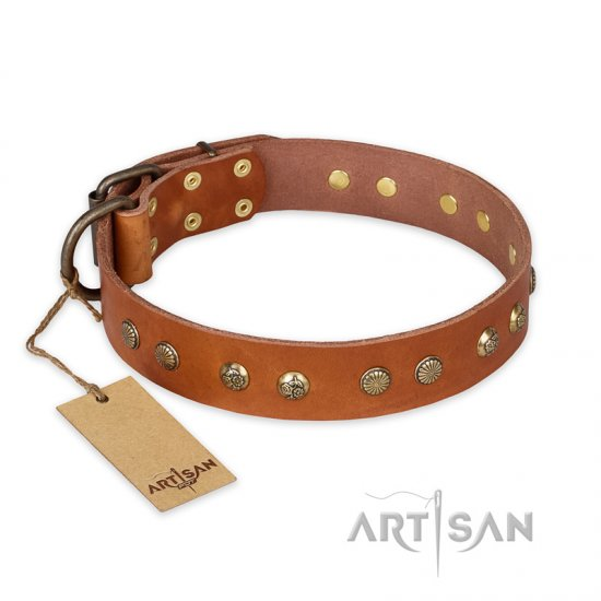 """Spring Flavor"" FDT Artisan Adorned Leather Bullmastiff Collar with Old Bronze-Plated Engraved Studs"