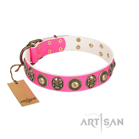 """Two Extremes"" FDT Artisan Pink Leather Bullmastiff Collar with Elegant Conchos and Medallions with Skulls"