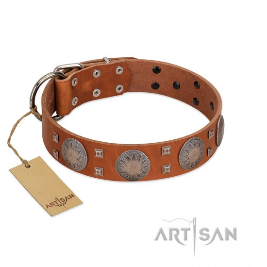 """Sun Rise Noon"" FDT Artisan Tan Leather Bullmastiff Collar with Unique Design"