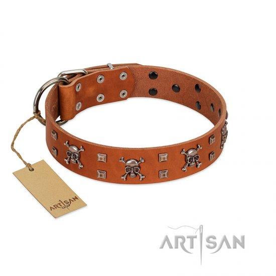 """Rebellious Nature"" FDT Artisan Tan Leather Bullmastiff Collar Embellished with Crossbones and Square Studs"