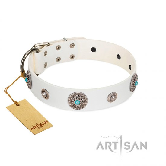 """Lush Life"" Designer Handcrafted FDT Artisan White Leather Bullmastiff Collar with Blue Stones"