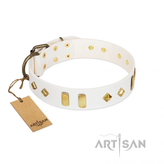 """Hella Cool"" FDT Artisan White Leather Bullmastiff Collar Adorned with Plates and Rhombs"