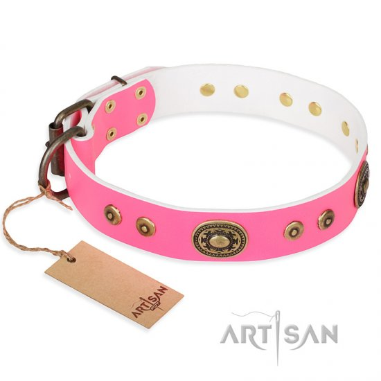 """Pink Pearl"" FDT Artisan Leather Bullmastiff Collar for Real Ladies"